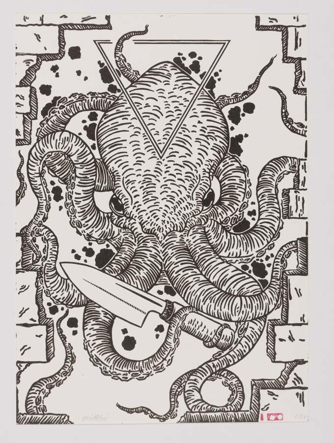poster gravure linocut pieuvre oktopus