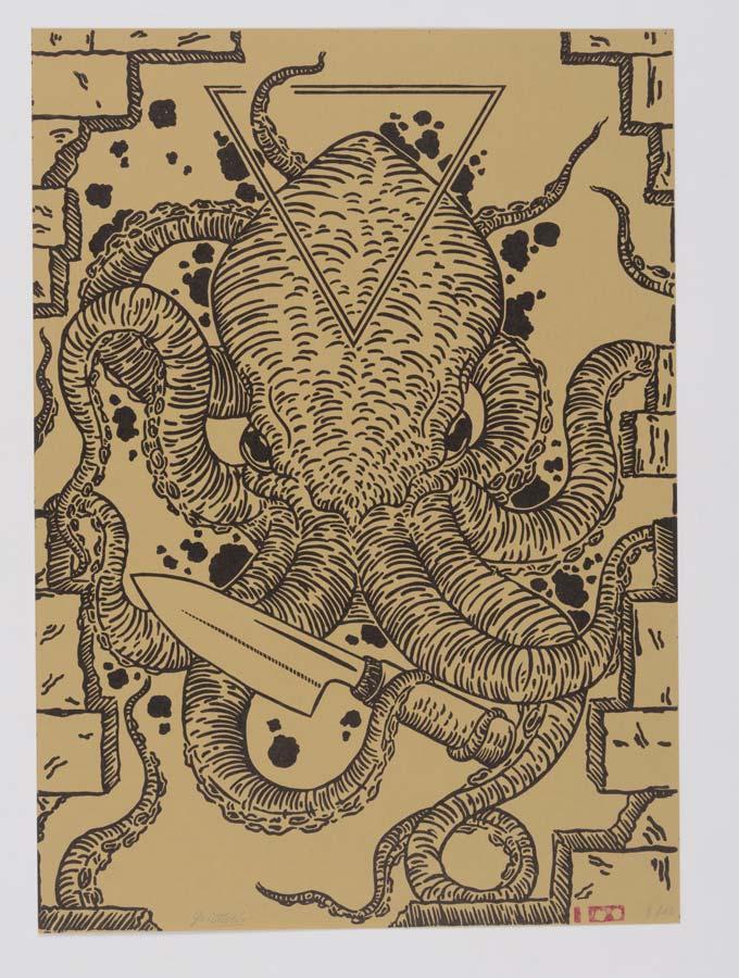 pieuvre gravure art linogravure